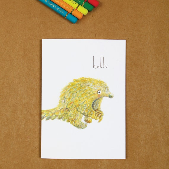 Hello Pangolin Greeting Card