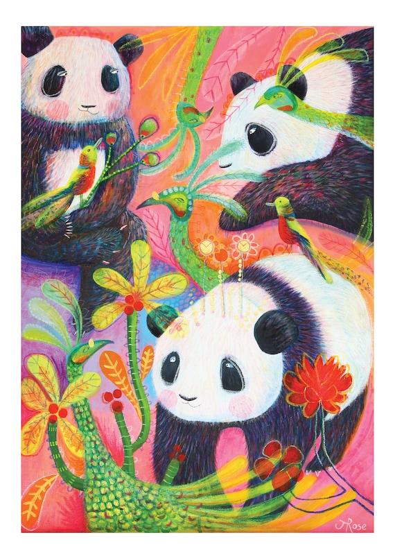 A4 Fine Art, Giclée Print Of My Original Painting, 'Panda And Peacocks'