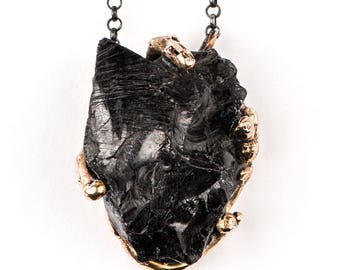 Shungite Pendant with silver chain - One of a Kind healing jewelry for men and women