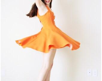 143dfaff35a7 Orange Full Circle Dress . 1960s Orange Dress Orange Summer Dress Orange  Mini Dress Orange Micro Mini Dress Orange Full Circle Skirt
