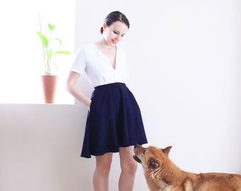 Navy Full Circle Skirt . 1970s Navy Skirt Navy Blue Skirt Vintage Skirt Vintage High Waisted skirt A Line Skirt School Girl Skirt Mod Skirt