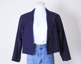 Purple Nep Blazer . 1970s Blazer Cropped Blazer Cropped Bolero Cropped Jacket Purple Bolero Purple Blazer Purple Jacket 70s Bolero 70 Blazer