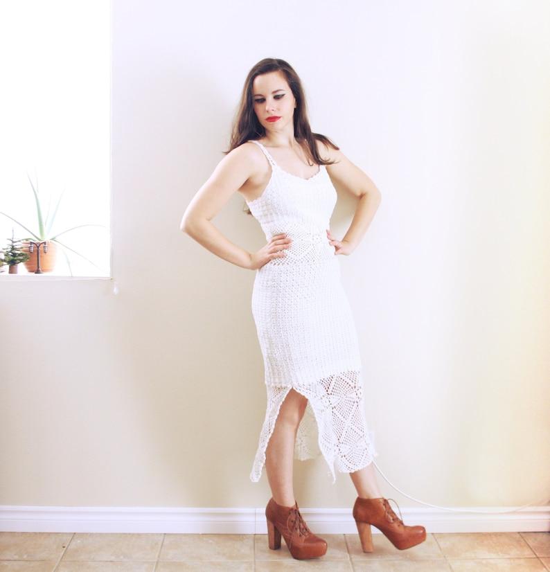 1970s Crochet Maxi Dress Knit Maxi Dress Knit Dress White Dress Crochet Wedding Dress Crochet Bridal Gown Lace Dress White Crochet Dress