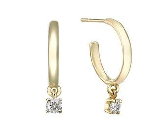 0.20 Carat Diamond Charm Huggie Earrings in 14K Gold or 18K Gold