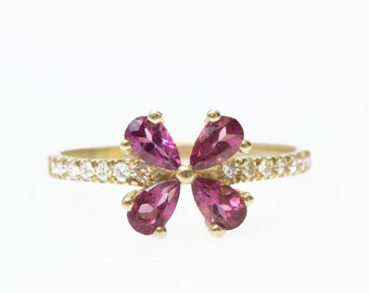 Pear garnet Ring, Diamonds ring, Engament ring , Purple Garnet Engagement Ring, Pear Cut Garnet Ring, Uniqe engagment ring, Flower ring