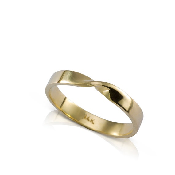 Mens Wedding Band Mobius Wedding Ring 14k Solid Yellow Etsy