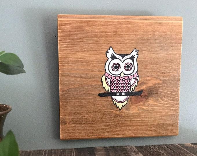 Mandala Owl - Pink and Gold - Mini Reclaimed Wood Wall Art Rustic Home Decor Gift