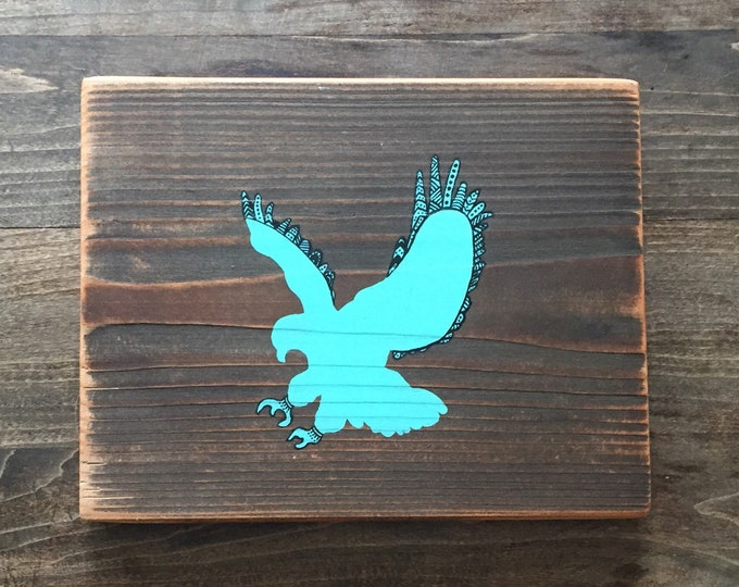 Turquoise Mandala Eagle - Hand Painted Reclaimed Wood Wall Art Rustic Home Decor Gift