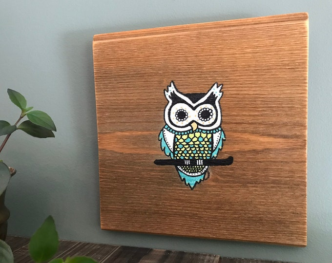 Mandala Owl - Turquoise and Gold - Hand Painted Reclaimed Wood Wall Art Rustic Home Decor Gift