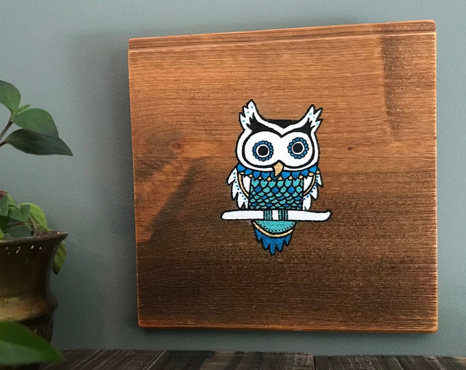 Mandala Owl - Turquoise Blue and Gold - Hand Painted Reclaimed Wood Wall Art Rustic Home Decor Gift