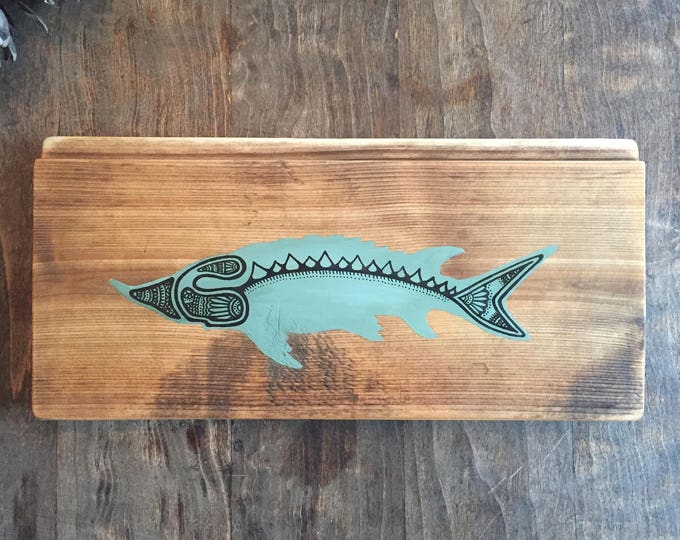 Sturgeon in Olive Green - Reclaimed Wood Mandala Fish Painting Rustic Home Decor Fishing