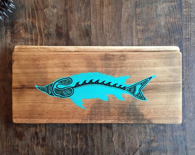 Sturgeon in Turquoise - Reclaimed Wood Mandala Fish Painting Rustic Home Decor Fishing