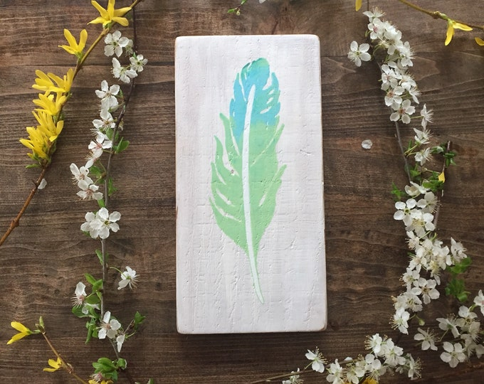 Spring Feather - Turquoise and Green - Reclaimed Wood Home Decor Rustic Wall Art