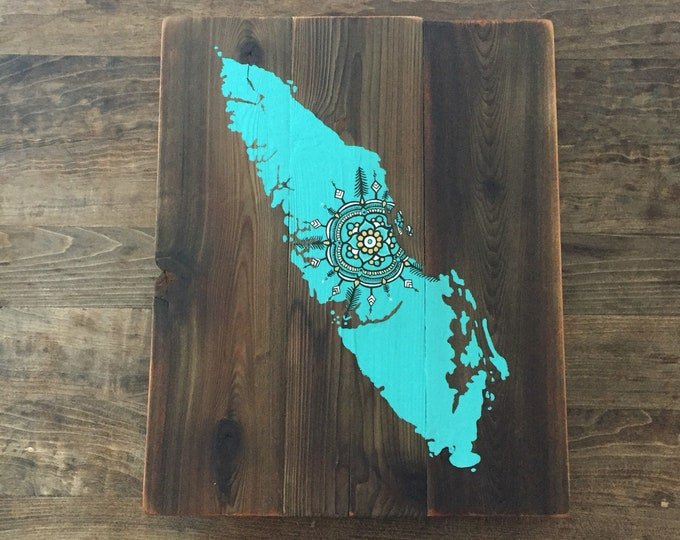 Turquoise Sitka Mandala - Large - Reclaimed Wood Rustic Home Decor Vancouver Island Map
