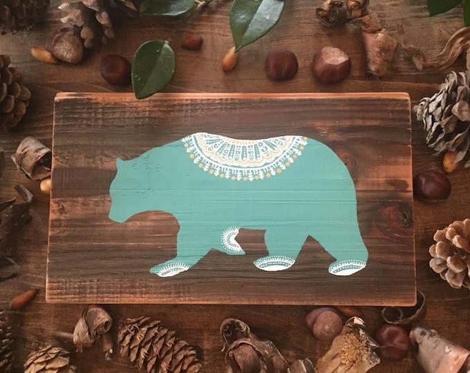 Mandala Bear in Turquoise - Reclaimed Wood Mandala Bear Painting Rustic Home Decor West Coast Wildlife