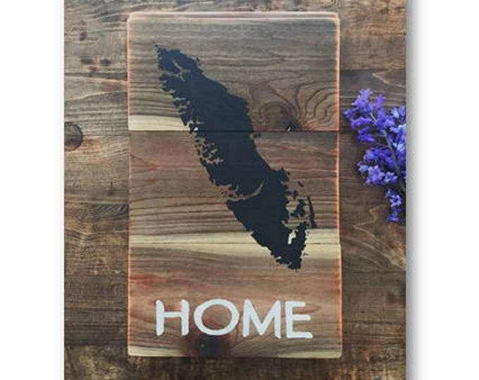 Island Home in Black - Medium - Reclaimed Wood Art Rustic Home Decor Gift Vancouver