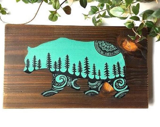 Sitka Mandala Bear - Handpainted on reclaimed wood west coast rustic decor