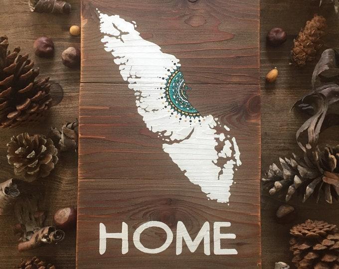 Mandala Sun Home  - Medium -  Reclaimed Wood Art Rustic Home Decor Gift Vancouver Island Map