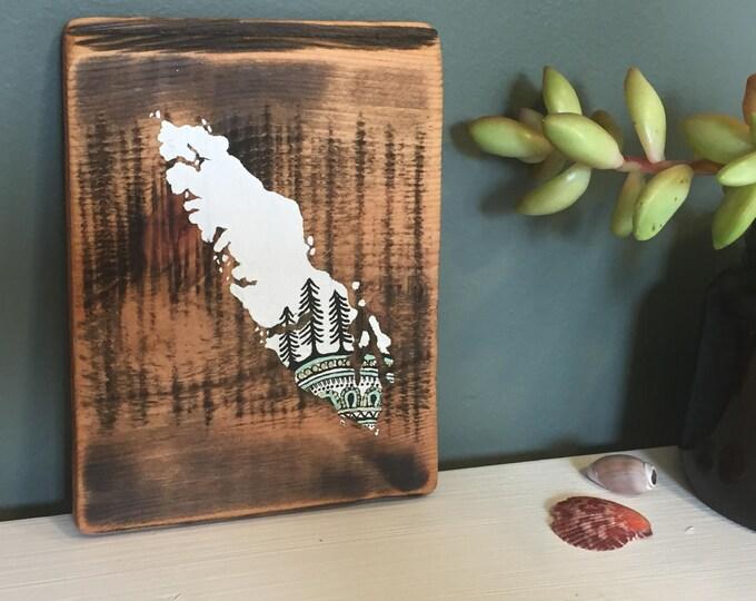Sitka Mandala Island in White - Mini - Reclaimed Wood Rustic Wall Art Vancouver Island Gift