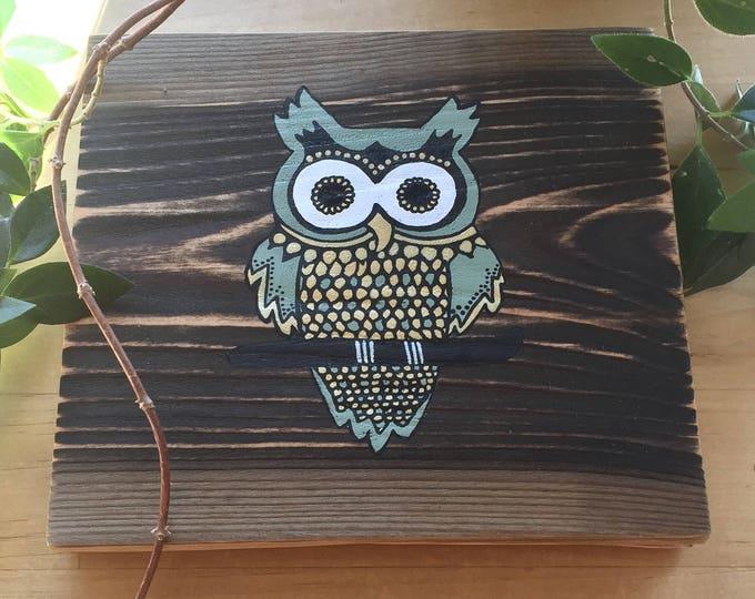 Mandala Owl in Army Green - Mini Reclaimed Wood Wall Art Rustic Home Decor Gift