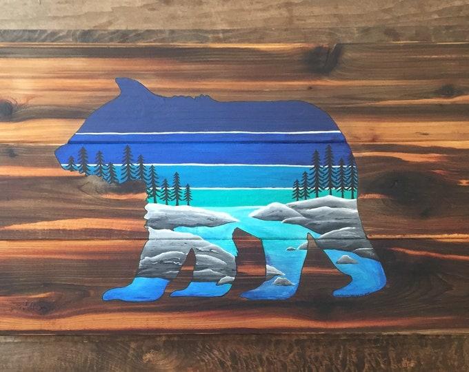 Coastal Bear - Handpainted west coast bear on reclaimed wood sitka tree silhouette and ocean landscape