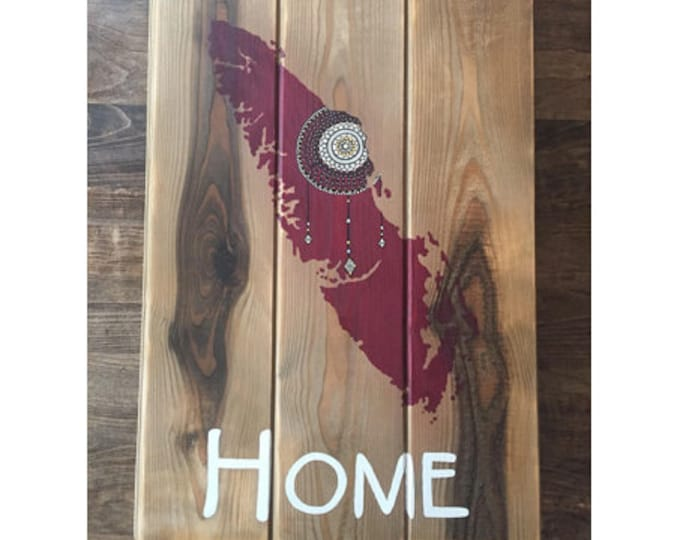 Burgundy Island Dreams - Large - Vancouver Island Map Dreamcatcher - Reclaimed Wood Rustic Home Decor