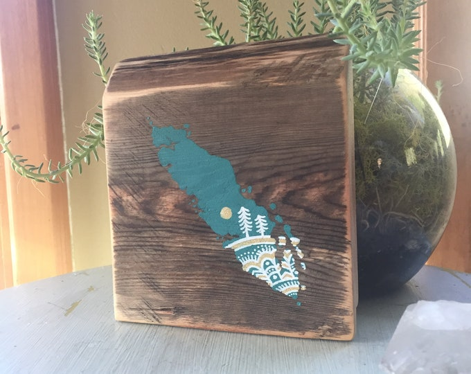 Sitka Mandala Island in Turquoise - Mini - Reclaimed wood rustic vancouver island map wall art