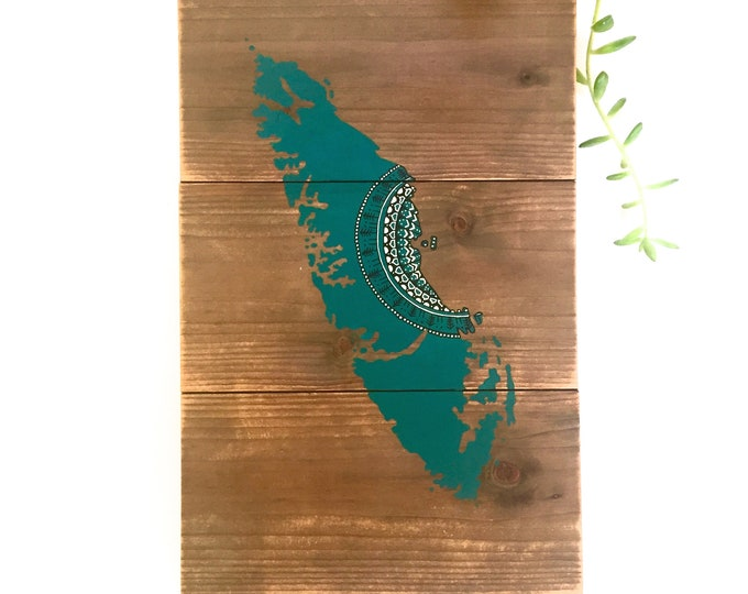 Island Mandala Sun in Turquoise - Medium - Reclaimed wood home decor rustic wall art painting map vancouver island gift