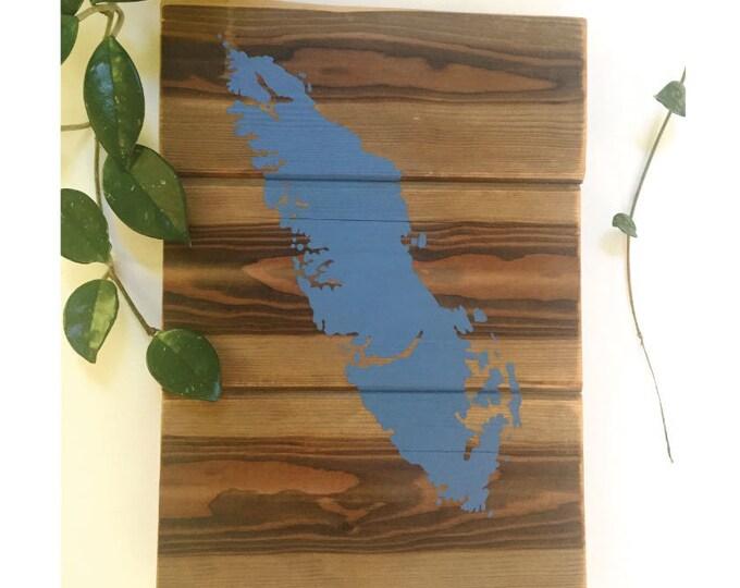 Van Isle in Blue - Medium - Reclaimed Wood Art Rustic Home Decor Gift Vancouver