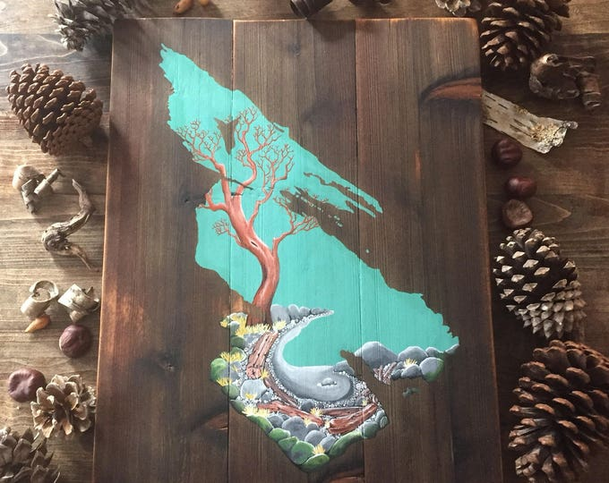 Saltspring Island Map Arbutus Beach Painting - Reclaimed Wood Rustic Home Decor