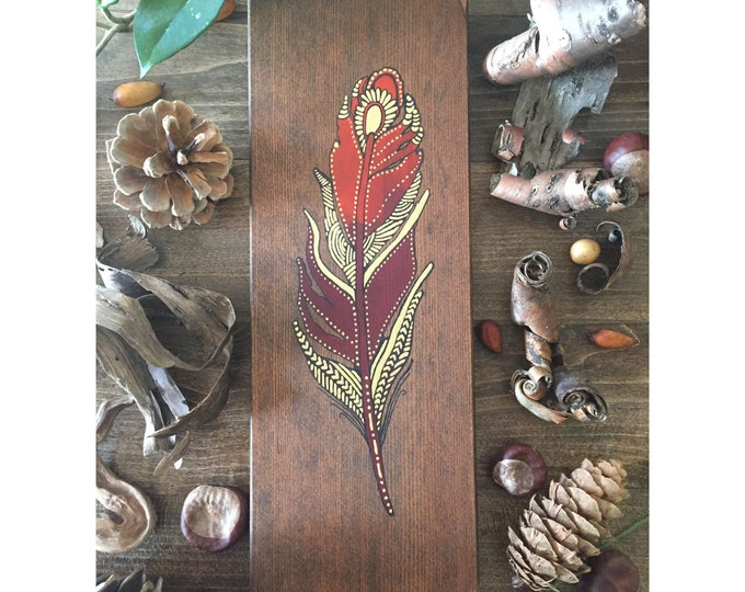 Mandala Feather - Crimson and Gold - Reclaimed Wood Home Decor Rustic Wall Art