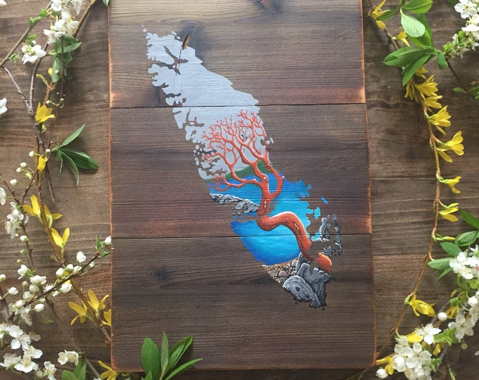 Twisted Arbutus Island - Medium - Reclaimed Wood Art Rustic Home Decor Gift Vancouver Island Map
