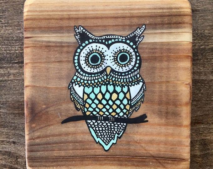 Mandala Owl in Turquoise - Mini Reclaimed Wood Wall Art Rustic Home Decor Gift