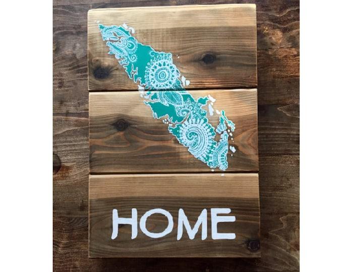 Turquoise Dreams  - Medium - Vancouver Island Map Mandala - Reclaimed Wood Art Gift Rustic Home Decor