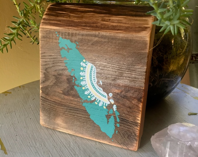 Mandala Sun Island in Turquoise - Mini - Reclaimed Wood Rustic Wall Art Vancouver Island Gift