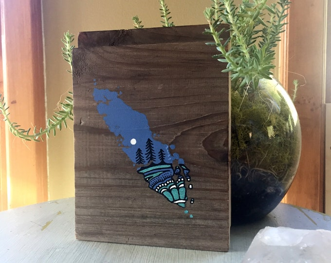 Sitka Mandala Island in Purple & Turquoise - Mini - Reclaimed Wood Rustic Wall Art Vancouver Island Gift