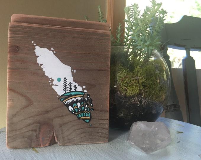 Sitka Mandala Island in White & Gold - Mini - Reclaimed Wood Rustic Wall Art Vancouver Island Gift