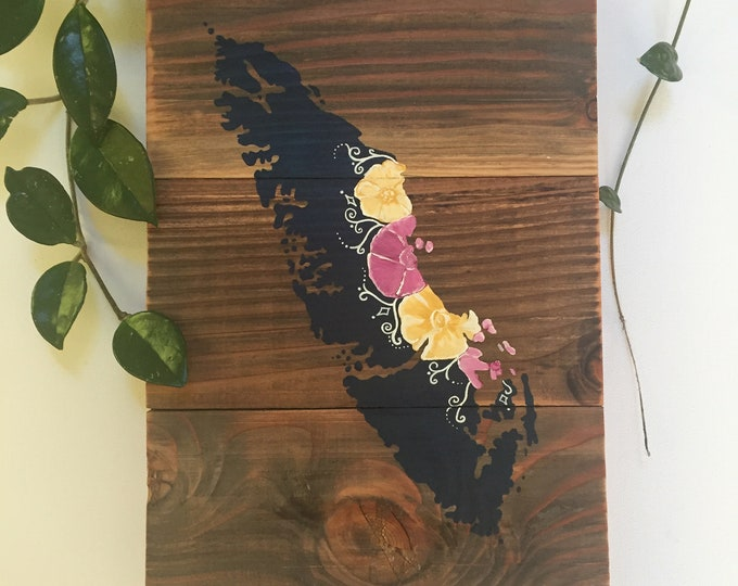 Floral Island Home - Medium - Navy Yellow and Pink - Reclaimed Wood Map Rustic Wall Art Vancouver Home Decor Gift