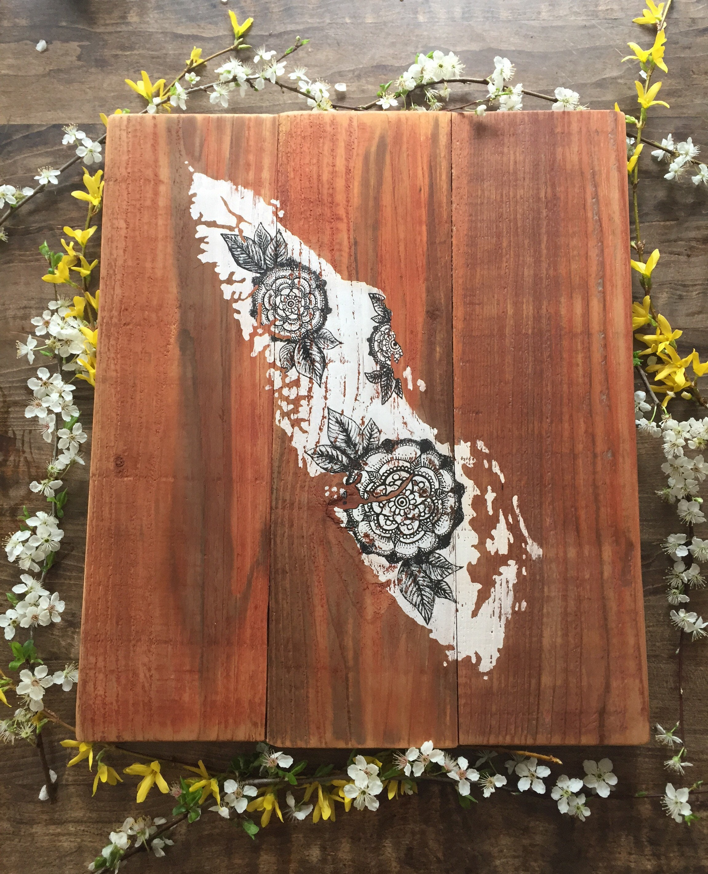 Vintage Floral Island - Large - Reclaimed Wood Rustic Home Decor ...
