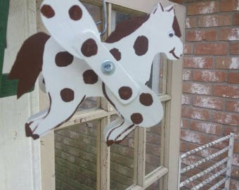 Handcrafted Horse Whirligig,Yard Art, Wood&Metal, Garden Decor