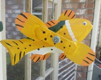 Handcrafted,Fish Whirligig,Yard Art, Wood&Metal, Garden Decor