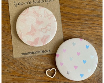 Butterflies Hearts Compact Mirrors, Handbags accessories,  Make up pampering , Friendship Bridesmaid gift, Handheld mirror, Party favours