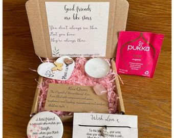 Best Friend box, Friendship mini hamper Hygge, BFF, Thinking of you, Hug in a box, Gift with charm, Badge Magnet, Mental health Mindfulness