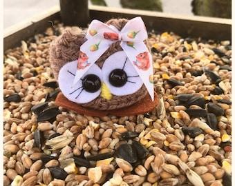Pretty cute Owl gift,  Mothers day,  Happy Birthday, Crochet ornament, Nutkin the Cutie,  brown owl, Barn Owl ornament , Girls gift