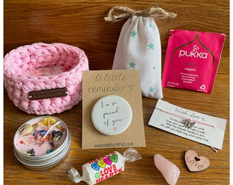 Small pink hamper, Self care pampering treat, I'm so proud of you, small storage basket, ecofriendly recycled tape, badge, Hygge gift