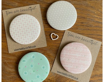 Shabby chic Compact Mirrors, Handbags accessories,  Friendship gift, Make up pampering , Bridesmaid gift, Handheld mirror, Party favours