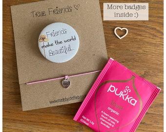 True friend gift, friendship wish bracelet, Christmas stocking filler gift idea, Best friends token,  Badge  fun pin- Magnet
