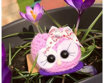 Cute Owl, purple owl, Personalised gift owl, Aurelia the Cutie, cute animal owl, natural crochet gifts, Owl ornament décor, birthday, girls