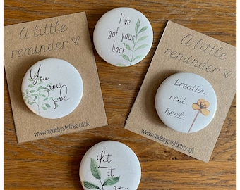 You grow girl, Break up, Motivational quotes Positive affirmations, Friendship gift, Mindfulness, Button Pins Badges,  magnet 44mm Set 12