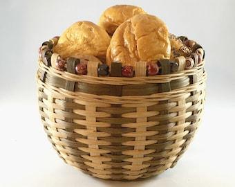 "BASKET WEAVING PATTERN  - ""Patchouli"" Biscuit Basket with Wood Bead Rim"